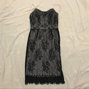 Black lace nude party dress XS Brand New with Tags